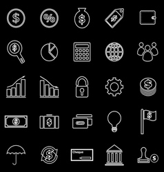 Finance line icons on black background vector