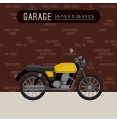 Garage with motorcycle vector