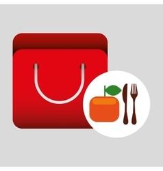 Grocery bag orange nutrition fruit vector