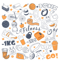 Hand drawn sports doodle freehand fitness vector