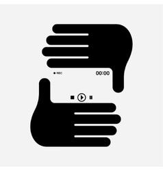 Hand photo frame vector