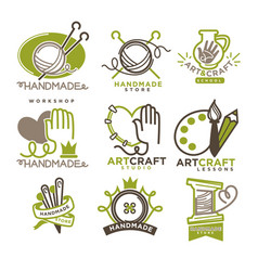 Handmade workshop logo badges with pictures vector