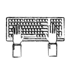hands in keyboard vector image vector image