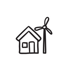 House with windmill sketch icon vector