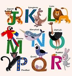 Kids zoo alphabet with animals vector