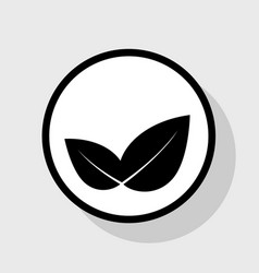 Leaf sign flat black icon in vector