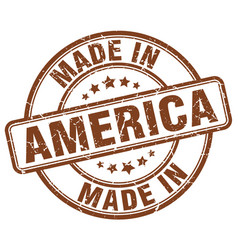 Made in america brown grunge round stamp vector