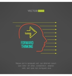 Man face with arrows Forward thinking concept vector image