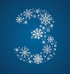Number 3 font frosty snowflakes vector