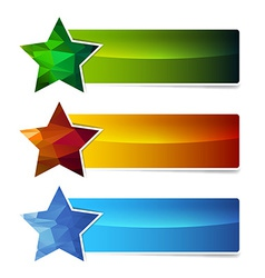 polygonal star banner set vector image vector image