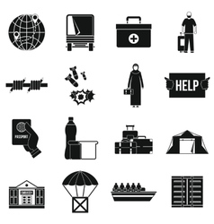 Refugees problem icons set simple style vector