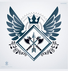 Retro insignia design decorated with wings and vector