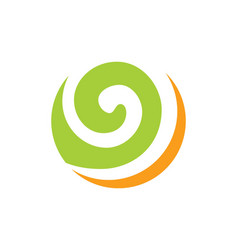 Round curl wave ecology abstract logo vector