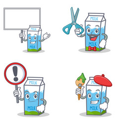 Set of milk box character with bring board sign vector