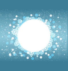 Snowflakes and stars round frame for christmas vector