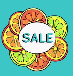 Summer sale background with lemon vector