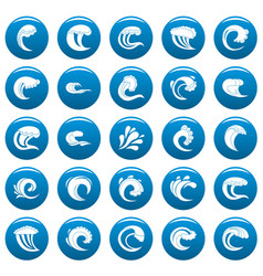 water wave icons set blue simple style vector image