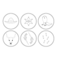 Wild west contour lines objects set vector