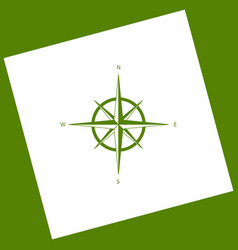 Wind rose sign white icon obtained as a vector