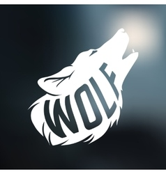 Wolf silhouette with concept text inside on blur vector image vector image