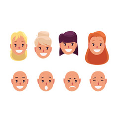 Woman pretty faces with different hairstyles and vector