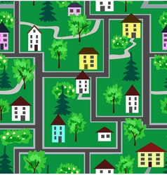 Small city district seamless pattern vector