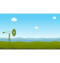 Nature landscape with windmill vector