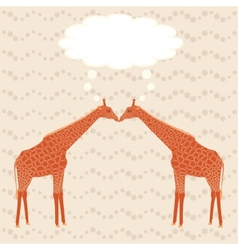 Two giraffes over stripy background vector