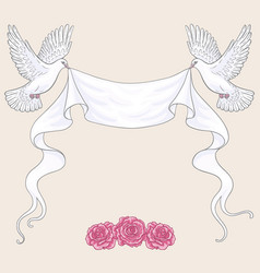 flying doves ribbon and pink roses vector image