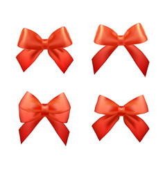 Ribbons set for christmas gifts red gift bows vector
