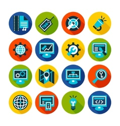 Seo and internet optimization flat icon set vector