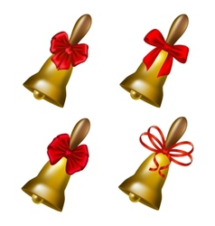 Set of school bells with red bows vector