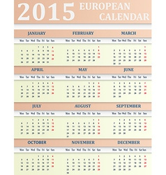 European calendar for 2015 vector