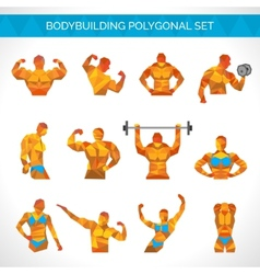 Bodybuilding polygonal icons set vector