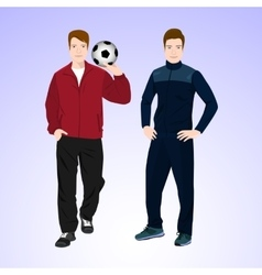 Two sports man with a soccer ball vector