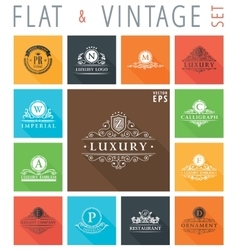 Vintage flat elements icons collection vector