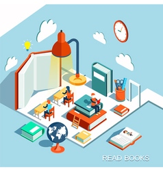 The concept of learning read books in the library vector