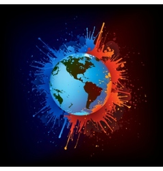 globe in paint vector image