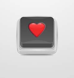 Button heart icon vector