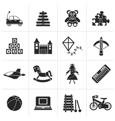 Black different kind of toys icons vector