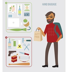 Man with hand baggage vector