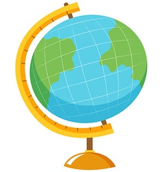 Globe with stand on white background vector