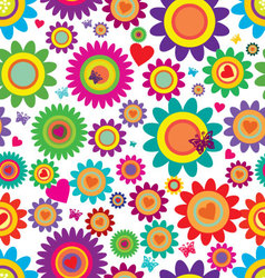Spring flowers - seamless pattern vector image