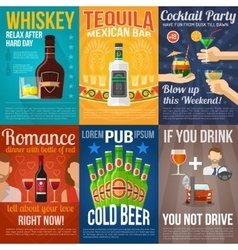 Alcohol Mini Poster Set vector image vector image