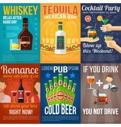 Alcohol Mini Poster Set vector image