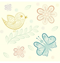 background with flowers birds and butterflies vector image vector image