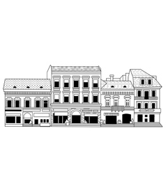 Black abstract old buildings city isolate on white vector image vector image