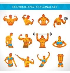 Bodybuilding polygonal icons set vector