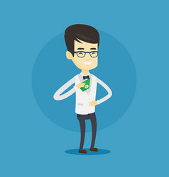 Business man putting money bribe in pocket vector