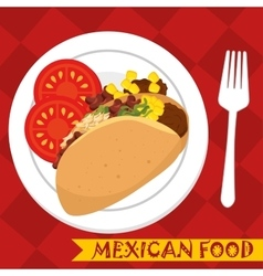 cartoon food mexico design isolated vector image